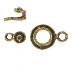 Toggle clasp (circle 23x16mm) antique brass plate