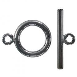 Toggle clasp, large, (circle 32.5x25mm), black nickel plate, nickel safe