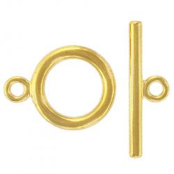 Toggle clasp, large, (circle 32.5x25mm), gold plate, nickel safe