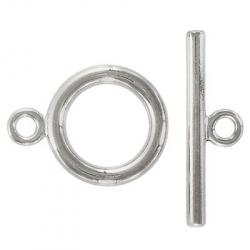 Toggle clasp, large, (circle 32.5x25mm), nickel plate, nickel safe