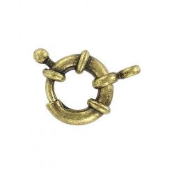 Spring ring clasp fancy 12mm antique brass plate
