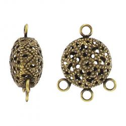 Filigree 3-row connector antique brass