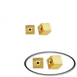 Memory wire cube end cap gold plate