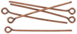 Eye pin 25mm (1) 0.7mm diameter 21 gauge antique copper plate (pack of 500 pieces) nkf