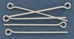 Eye pin 25mm (1) 0.7mm diameter 21 gauge silver plate (pack of 500 pieces) nkf