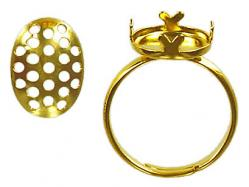Finger ring expandable with 14x10mm oval screen size 5.5 to 8 gold plate