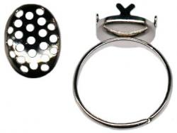 Finger ring expandable with 14x10mm oval screen size 5.5 to 8 nickel plate
