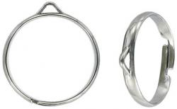Finger ring expandable one row with 1 loop size 7.5+ nickel plate