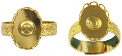 Finger ring expandable, with setting 14x10 gold plate