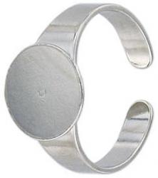 Finger ring expandable with 12mm pad imitation rhodium plate