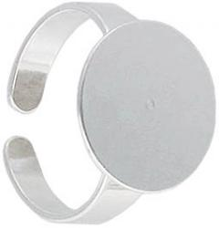 Finger ring with 16mm pad, expandable, size 9+, silver plate