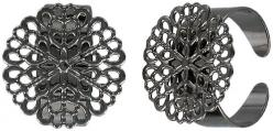 Finger ring expandable, with 18mm filigree pad black nickel