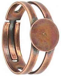 Finger ring expandable, with pad 9mm, antique copper