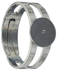 Finger ring expandable, with pad 9mm, nickel plate