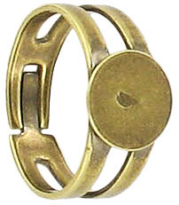 Finger ring expandable, small, with pad 9mm, antique brass