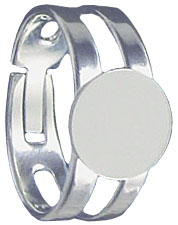 Finger ring expandable, small, with pad 9mm, silver plate