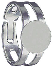 Finger ring expandable, small, with pad 9mm, nickel plate