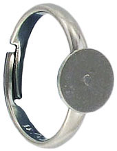 Finger ring expandable, small, size4-6, 7mm pad, nickel plate