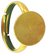 Finger ring expandable, size 5 1/2-8, 12mm pad, gold plate