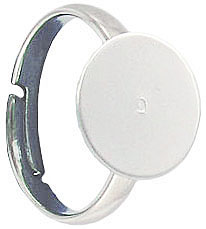 Finger ring expandable, size 5 1/2-8, 12mm pad, silver plate