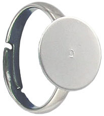 Finger ring expandable, size 5 1/2-8, 12mm pad, nickel plate