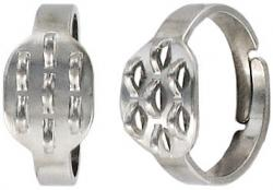 Finger ring expandable, beadable, 7-row nickel plate