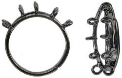 Finger ring expandable, beadable, 10-row black nickel