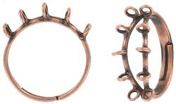 Finger ring expandable, beadable, 10-row antique copper