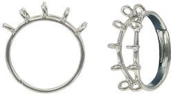 Finger ring expandable, beadable, 10-row nickel plate