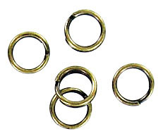 Split ring 5mm outside diameter steel antique brass plate