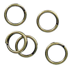 Split ring 6mm outside diameter antique brass plate