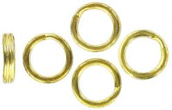 Split ring 9x2mm thick tempered steel gold plate
