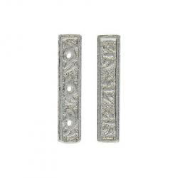 Spacer bar 3 row bead silver