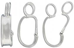 Sterling silver bale with hinge, 34x7mm, 925