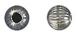 Sterling silver bead round corrugated 4mm .925