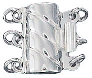 Sterling silver clasp 3 row 12x13mm .925