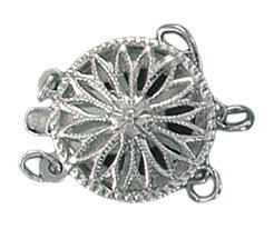 Sterling silver clasp 3 row 13mm .925