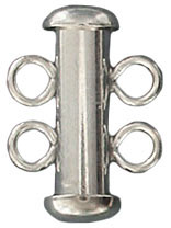 Sterling silver clasp slide lock 2 row 12x17mm .925