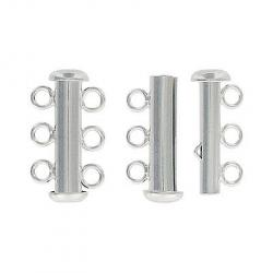 Sterling silver clasp slide lock 3 row 12x22mm .925