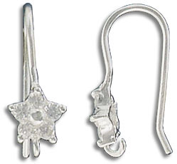 Sterling silver earwire, star shape with loop and cubic zirconia crystal, 18mm, 925