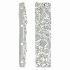 Rhinestone spacer bar, 4 row, 11x48mm, silver/crystal. Sold per pack of 4. (SKU# SB5394/4/101S)