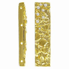 Rhinestone spacer bar, 4 row, 11x48mm, gold/crystal. Sold per pack of 4. (SKU# SB5394/4/101G)