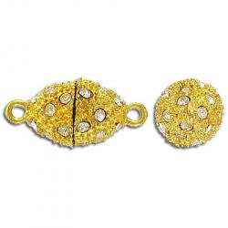 Rhinestone magnetic clasp, oval, 18x12mm, gold/crystal