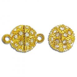 Rhinestone magnetic clasp, 14mm, gold/crystal