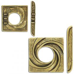 Toggle clasp, pewter, 3 row, 28mm, antique brass