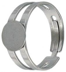 Finger ring expandable, with pad 9mm, stainless steel
