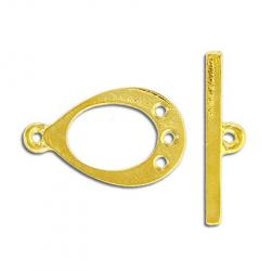 Toggle clasp, pear shaped, 3 holes, gold plate, lead safe
