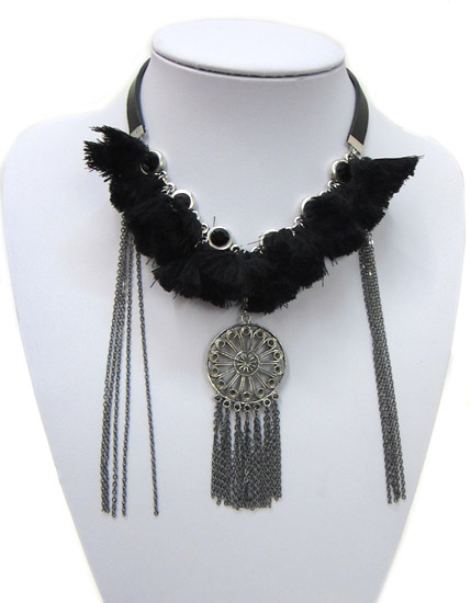 Black tassels necklace