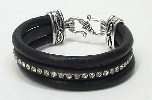 Crystal leather bracelet