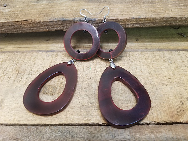 Red horn earrings